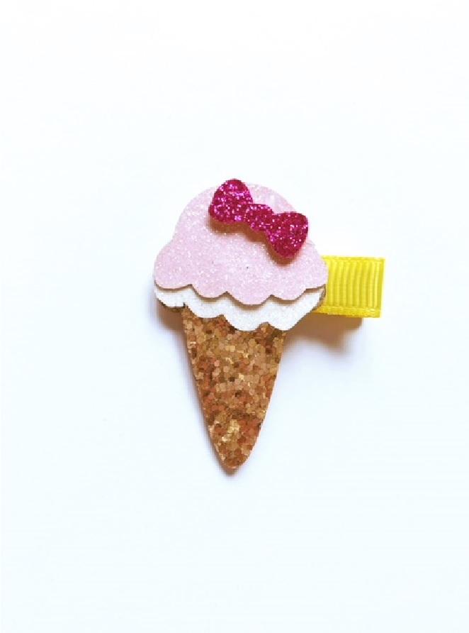 haarspeldje ijsje goud met roze.1