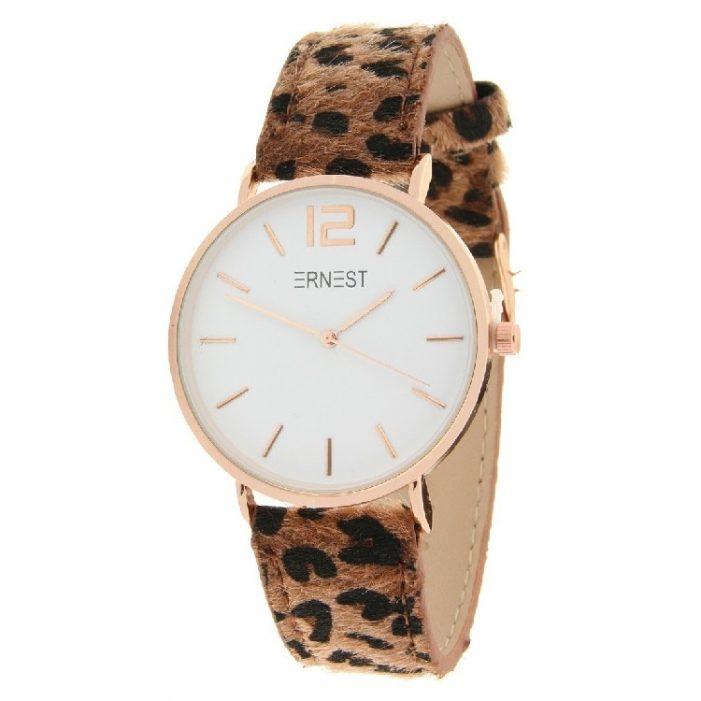 horloge rose leopard bruin.3