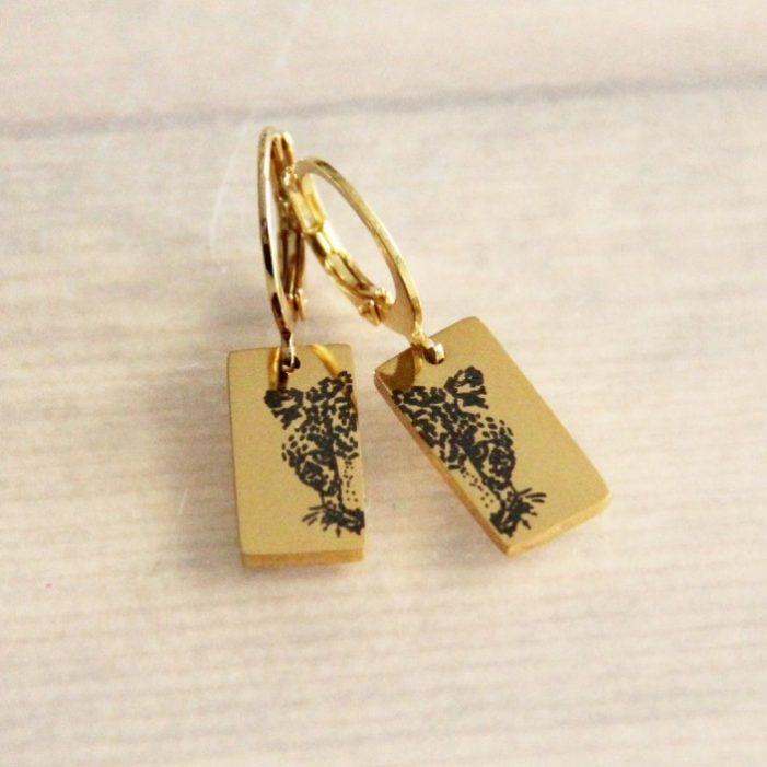 bazou luipaardprint oorbellen goud